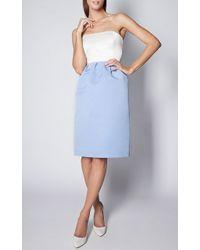 Esme Vie Sky Blue Faille Column Midi Skirt - Lyst