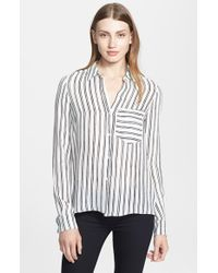 A.L.C. 'Troy' Stripe Silk Blouse - Lyst