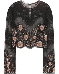 Alessandra Rich - Embellished Lace Cropped Top - Lyst