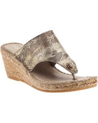 Andre Assous Annette Wedge Espadrille Beige Camo Leather beige - Lyst