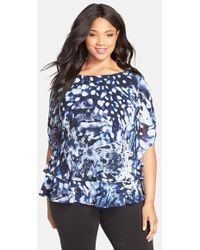 Alex Evenings Print Tier Chiffon Blouse - Lyst