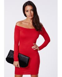 Missguided Rorry Ponte Bardot Bodycon Dress Red - Lyst
