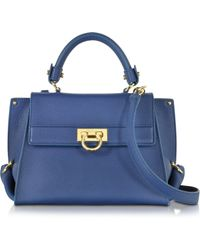 Ferragamo | Small Sofia Saphir Leather Shoulder Bag | Lyst