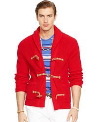 Ralph Lauren Cotton Toggle Cardigan - Lyst