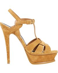 Saint Laurent Suede Tribute Platform Sandals - Lyst