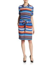 Marc New York By Andrew Marc Striped Drawstring Shirtdress - Lyst
