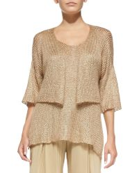 Donna Karan New York Cropped Half-sleeve Cardigan - Lyst
