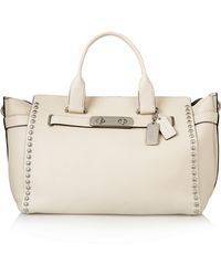 Coach Swagger Large Studded Textured-Leather Tote - Lyst