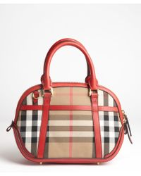 Burberry Military Red and Check Canvas Orchard Small Bowling Bag - Lyst