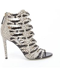 Jason Wu Black And Ivory Leather Pattern Detail Sandals - Lyst