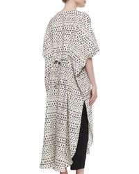 Adam Lippes - Striped Mixed-Print Long Caftan - Lyst
