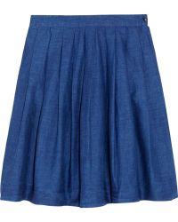 Chinti And Parker Linenblend Chambray Mini Skirt - Lyst