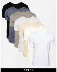 Asos Tshirt with Crew Neck 7 Pack Save 29 - Lyst