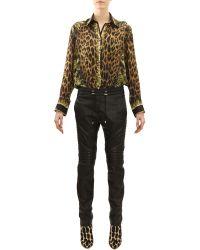 Balmain Drawstring Waist Leather Moto Pants - Lyst