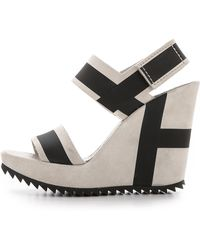 Pedro Garcia Vicenta Stripe Wedge Sandals - Stone - Lyst