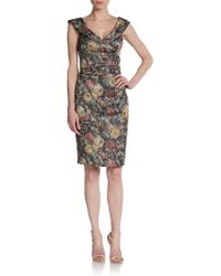 Kay Unger Floral Jacquard Sheath Dress - Lyst