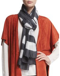 Eskandar - Square Block-striped Shibori Silk Scarf - Lyst