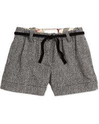 Burberry Tweed Shorts with Velvet Belt - Lyst