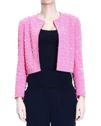 Moschino Jacket Without Collar Crepes Quilted With Strass - Lyst