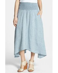 Eileen Fisher Asymmetrical Linen Chambray Midi Skirt - Lyst