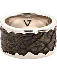 Seven London Leather-Detail Silver Band Ring - For Men - Lyst