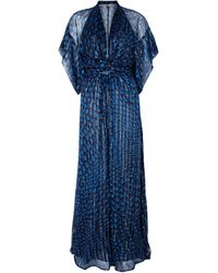 Issa Navy Pattern Gather Waist Maxi Dress with Short Sleeves - Lyst