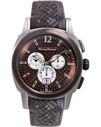 Tommy Bahama - Mens Swiss Chronograph Weekender Dark Brown Woven Leather Strap 44mm - Lyst