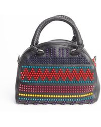 Christian Louboutin Black Multi Color Spike Studded Bowler Bag - Lyst