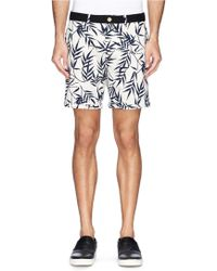 Scotch & Soda Leaf Print Cotton-Linen Chino Shorts - Lyst