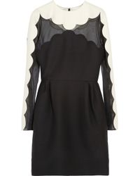 Valentino Scalloped Woolblend Crepe and Silkorganza Dress - Lyst