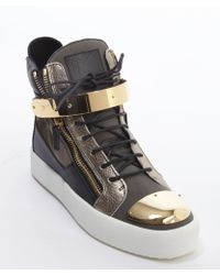 Giuseppe Zanotti Mud and Camouflage Leather and Canvas Gold Metal Detail High Top Sneakers - Lyst