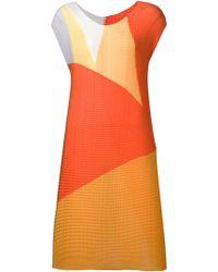 Issey Miyake Colour Block Pleated Dress orange - Lyst