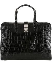 Giorgio Armani - Ginevra Printed Leather Top Handle Bag - Lyst 6d2ad5036e