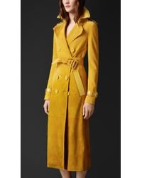Burberry Dégradé Suede Trench Coat With Patent Trim - Lyst