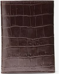 Cole Haan Embossed Croc Trifold Wallet brown - Lyst