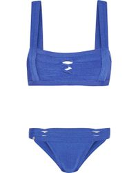Hervé Léger Twist-Detail Bandage Bikini - Lyst