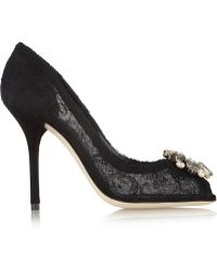 Dolce & Gabbana Crystalembellished Lace Pumps - Lyst