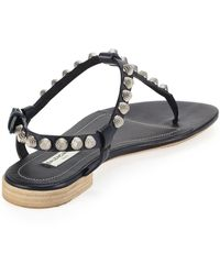 Balenciaga Giant Nickel Studded Thong Sandal Blue - Lyst