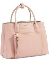Calvin Klein Saffiano Leather Satchel Bag - Lyst