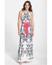 Eliza J Print Tie Waist Maxi Dress - Lyst