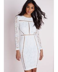 Missguided Lace Ladder Detail Bodycon Dress White white - Lyst