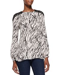 Haute Hippie Animal-print Blouse with Crystal Shoulders - Lyst