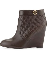 Tory Burch Leila Quilted Wedge Bootie Coconut Chestnut - Lyst