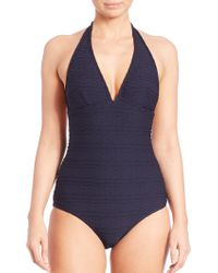 Shoshanna | One-piece Cable Halter Swimsuit | Lyst