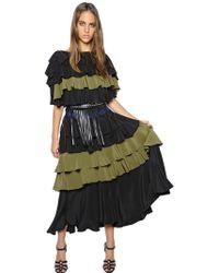 Sonia Rykiel Ruffled Silk Crepe De Chine Dress - Lyst
