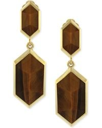 Vince Camuto - Gold-Tone Brown Stone Drop Clip-on Earrings - Lyst
