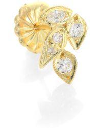 Ila & I - Reva Diamond & 14K Yellow Gold Leaf Single Stud Earring - Lyst