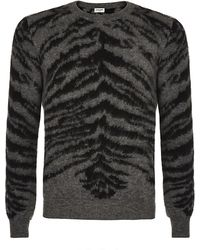 Saint Laurent Zebra Mohair Jumper - Lyst