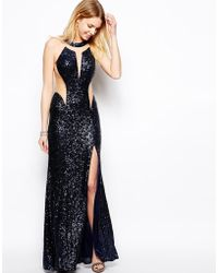 Forever Unique Sequin Maxi Dress with Sheer Inserts - Lyst