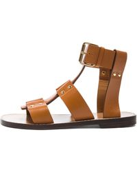 Chloé Gladiator Leather Sandals - Lyst